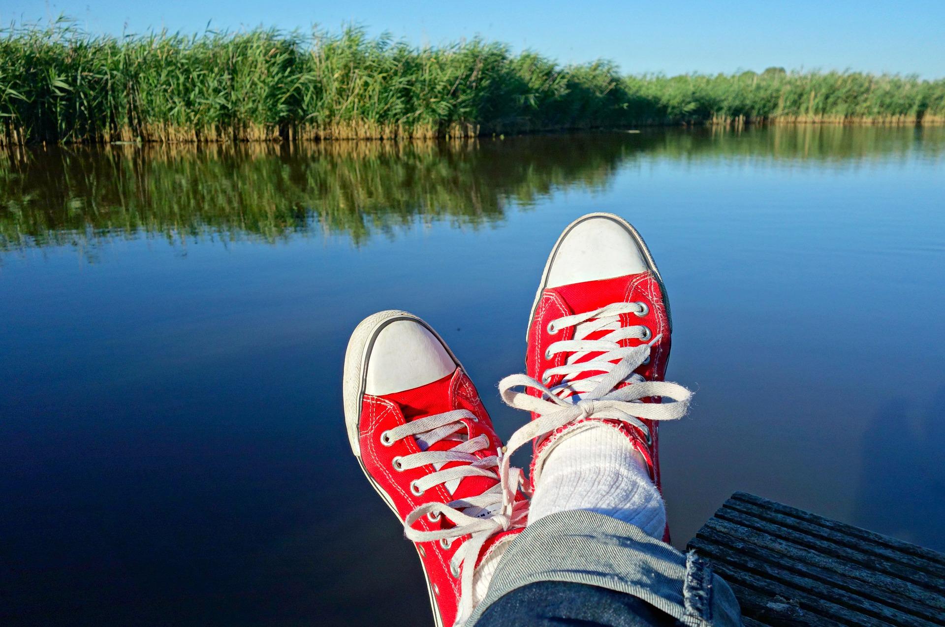 Feet on lake (taking break)