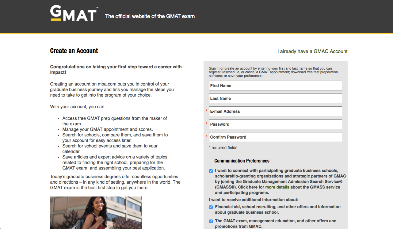 GMAT test sign-up